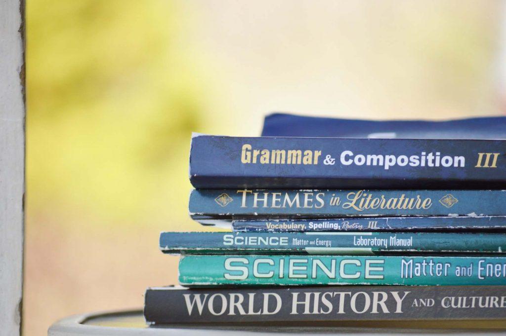 Livros, de várias disciplinas escolares, em inglês.